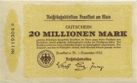 PS1220 Reichsbahn Frankfurt 20 Millionen Mark 1921 (1-)