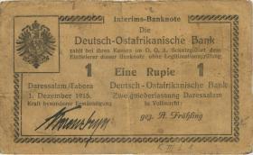 """R.924f: Deutsch-Ostafrika 1 Rupie 1915 K (3-) """"Kreuzberger"""""""