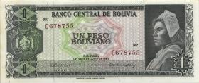 Bolivien / Bolivia P.152 1 Peso Boliviano 1962 6-stellig (2+)