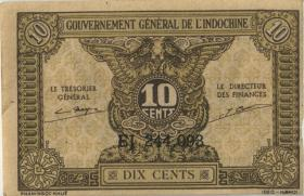 Franz. Indochina / French Indochina P.089a 10 Cents (1942) (2)