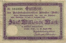 PS1323C Reichsbahn Münster 5 Millionen Mark 1923 (4)