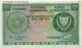 Zypern / Cyprus P.38s 500 Mils 1961 Specimen (1/1-)
