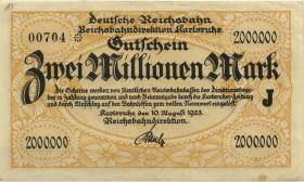PS1267 Reichsbahn Karlsruhe 2 Millionen Mark 1923 (2)