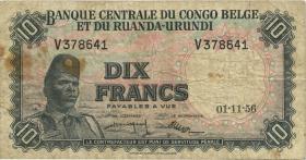 Belgisch-Kongo / Belgian Congo P.30b 10 Francs 1.11.1956 (4)