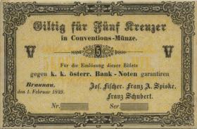 Österreich / Austria 5 Kreuzer 1849 Braunau (3)
