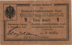 """R.923c: Deutsch-Ostafrika 1 Rupie 1915 H (3+) """"Besitzzeichen"""""""