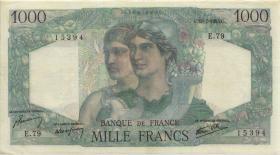 Frankreich / France P.130a 1000 Francs 1945 (3+)