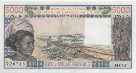 West-Afr.Staaten/West African States P.108Ar 5.000 Francs 1991 (1)