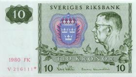 Schweden / Sweden P.52r3 10 Kronen 1980* Ersatznote / replacement (1)