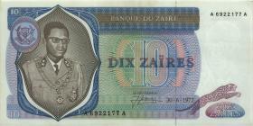 Zaire P.23a 10 Zaires 30.6.1972 (1)