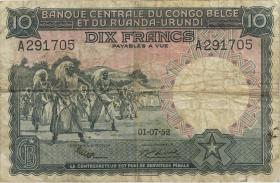 Belgisch-Kongo / Belgian Congo P.22 10 Francs 1.7.1952 (4)