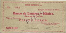 Mexiko / Mexico P.S596b 20 Pesos 1913 Banco de Londres y Mexico (3)
