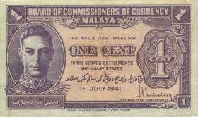 Malaya P.06 1 Cent 1941 (3+)