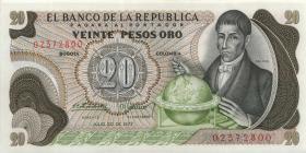Kolumbien / Colombia P.409c 20 Pesos Oro 1977 (1)