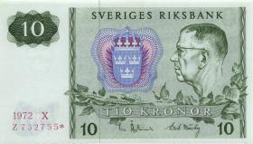 Schweden / Sweden P.52r1 10 Kronen 1972* Ersatznote / replacement (1)