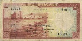 Libanon / Lebanon P.55a 1 Livre 1952 (3-)