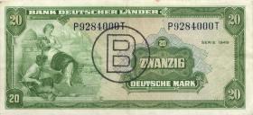 R.261 20 DM 1949 BDL B-Stempel (3+)