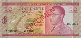 Kongo / Congo P.011s2 50 Makuta 1970 Specimen (1)