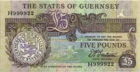 Guernsey P.53b 5 Pounds (1991-95) H 999922 (1)