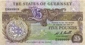 Guernsey P.49a 5 Pounds (1980-89) E 999909 (1)