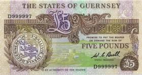 Guernsey P.49a 5 Pounds (1980-89) D 999997 (1)