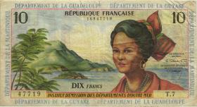 Franz. Antillen / French Antilles P.08b 10 Francs (1964) (3-)