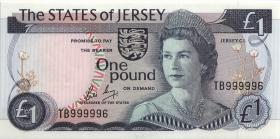 Jersey P.11b 1 Pound (1976-88) TB 999996 (1)