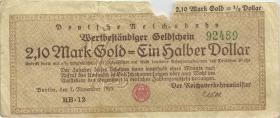 RVM-28a Reichsbahn Berlin 2,1 Mark Gold = 1/2 Dollar 7.11.1923 (5)