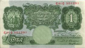Großbritannien / Great Britain P.369b 1 Pfund (1949-55) (2)