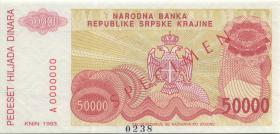 Kroatien Serb. Krajina / Croatia P.R21s 50.000 Dinara 1993 Specimen (1)