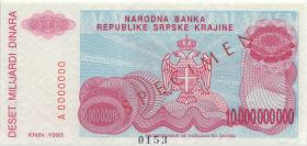 Kroatien Serb. Krajina / Croatia P.R28s 10 Milliarden 1993 (1)