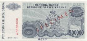 Kroatien Serb. Krajina / Croatia P.R32s 500.000 Dinara 1994 Specimen (1)
