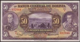 Bolivien / Bolivia P.123 50 Bolivianos L. 1928 (2+)