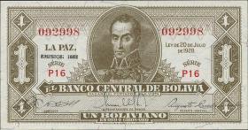 Bolivien / Bolivia P.128c 1 Boliviano L. 1928/1952 (1)
