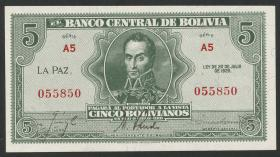 Bolivien / Bolivia P.129 5 Bolivianos L. 1928 (1)