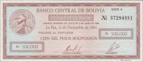 Bolivien / Bolivia P.188 100.000 Pesos Bolivianos 1984 (1)
