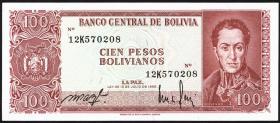 Bolivien / Bolivia P.164a 100 Pesos Bolivianos 1983 (1962) (1)