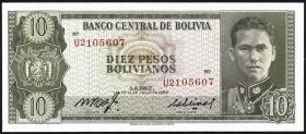Bolivien / Bolivia P.154a 10 Pesos Bolivianos 1962 (1)