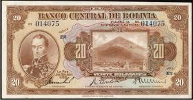 Bolivien / Bolivia P.122a 20 Bolivianos L. 1928 (2)