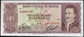 Bolivien / Bolivia P.161 20 Pesos Bolivianos 1962 (1) Nr.000009