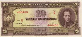 Bolivien / Bolivia P.140 20 Bolivianos L. 1945 (1)