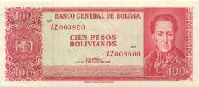 Bolivien / Bolivia P.164r 100 Peso Bolivianos 1983 (1962) (1)