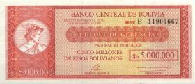 Bolivien / Bolivia P.200 5 Bolivianos auf 5 Mio. Pesos Bolivanos 1985 (1)