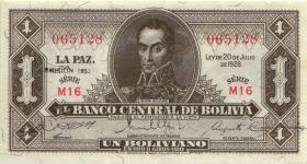 Bolivien / Bolivia P.128b 1 Boliviano L. 1928/1951 (1)