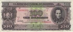 Bolivien / Bolivia P.142 100 Bolivianos L. 1945 (2+)