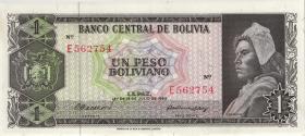 Bolivien / Bolivia P.158 1 Peso Boliviano 1962 (2+)