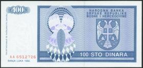 Bosnien & Herzegowina / Bosnia P.135 100 Dinara 1992 (1)