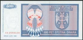 Bosnien & Herzegowina / Bosnia P.136 500 Dinara 1992 (1)