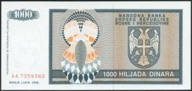 Bosnien & Herzegowina / Bosnia P.137 1000 Dinara 1992 (1)