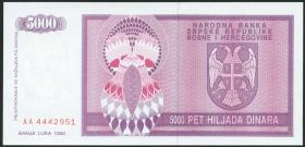 Bosnien & Herzegowina / Bosnia P.138 5000 Dinara 1992 (1)